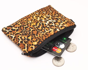Coin purse, zipper change bag, small padded zippered phone pouch leopard print, iPod Shuffle holder animal print bag - animal skin cheetah