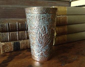 Artisan Hammered Copper Vase, Arts and Crafts, Handcrafted Hammered Copper, Art Nouveau