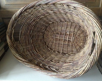 Rustic Wicker Basket, Large Oval with Handles, Primitive Rustic Farmhouse Country Cottage Chic