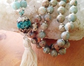 Pacific Opal, Chrysophase and Silver 108 Bead Mala