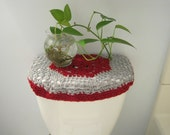 Crochet Toilet Tank Lid Cover or Crochet Toilet Seat Cover - Red/light grey (TTL18A or TSC18A)