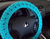 Crochet Steering Wheel Cover, Wheel Cozy - turqua (CSWC 8T)
