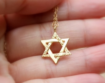 GOLD Star of David Necklace -  Jewish Star of David Necklace. jewish jewelry,  gold magen david