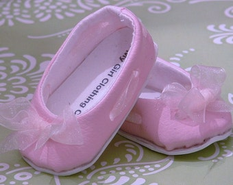Pink Faux Leather Ballet Flats with Organza Ribbon