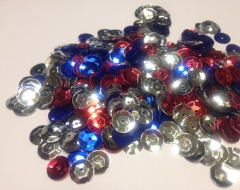 red, silver, blue sequins mix , 9 mm (15)
