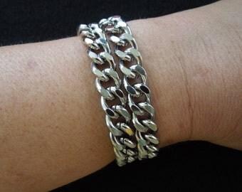 Vintage Chain Bracelet, Double Chain, Heavy Steel Links.  Punk Rock Style.