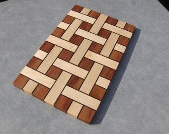 Basket Weave Cherry Walnut Maple Cutting Board