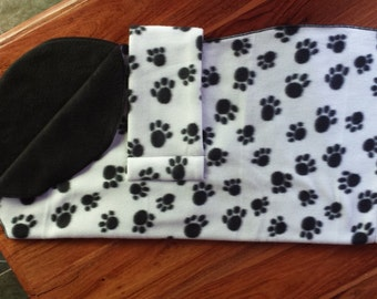 Dog Pyjamas White/Black Paws Print 60cm Small