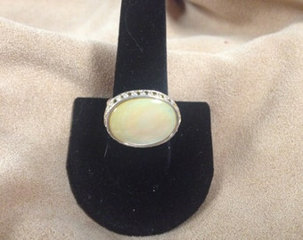 Vintage Sterling Silver Ring with Opal Centerstone