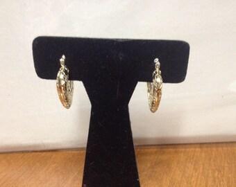 Vintage 925 Sterling Silver Floral Heart Hoop Earrings