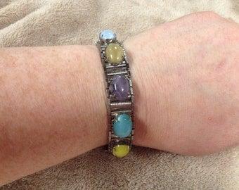 Vintage SARAH COVENTRY Multi Color Gemstone Bracelet