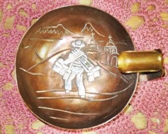 Vintage Victoria de Taxco, Mexico (Ana Maria Nunez de Brilianti) Collectible Copper and Sterling Silver Ashtray