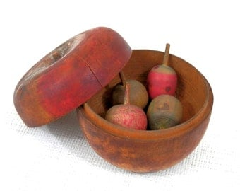 Treenware Apple Box with Miniature Treenware Nuts Antique Nesting Fruit American Primitive Folk Art