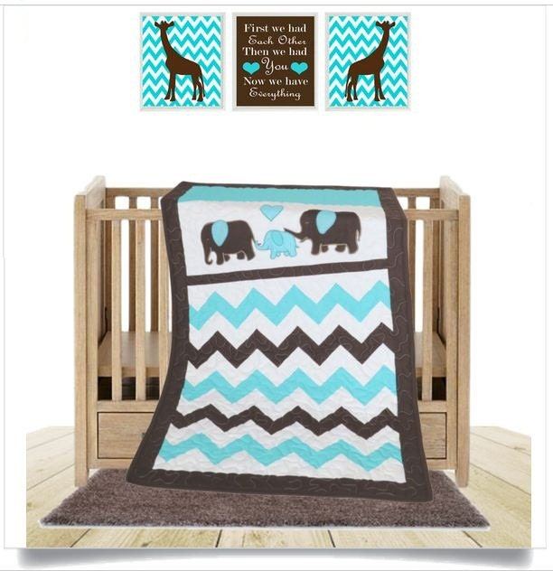 Baby quilt blanket elephant quilt bedding turquoise