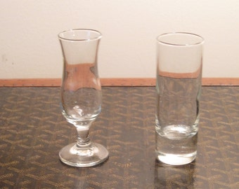 Set of two vintage glass shot glasses
