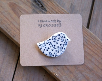 Blue ceramic bird brooch