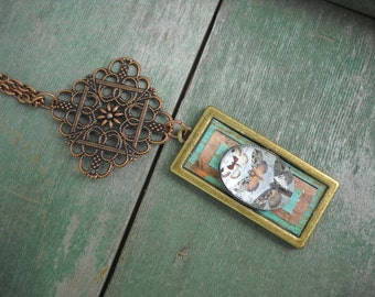 Butterfly Project Necklace/Boho/Nature/Woodland/Patina/Mixed Metal