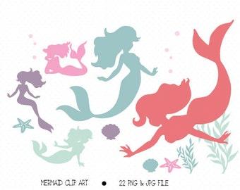 Mermaid Silhouette Digital Clipart, Digital Clip art, Embellish digital scrapbooking, DIY iron on INSTANT DOWNLOAD