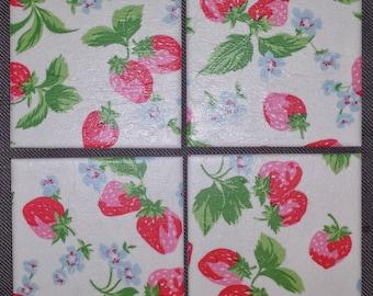 Ceramic Coasters in Cath Kidston Strawberries in White