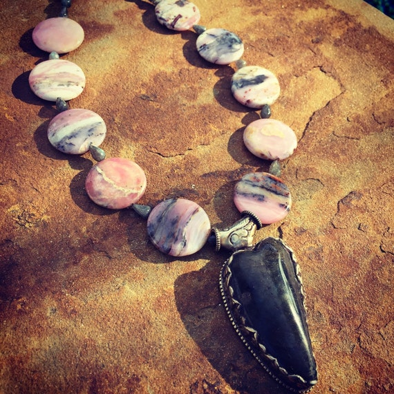 Pink Opal with Labradorite Heart Boho Statement Necklace and Earring Set