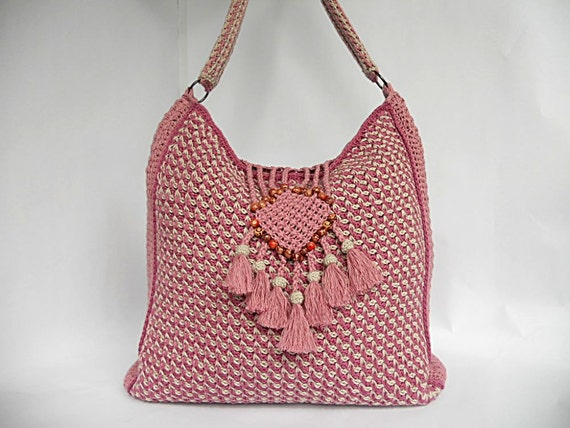 PDF pattern tunisian crochet bag Colores de rosas