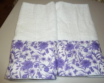 Purple Floral Decorative Hand Towels (Set of 2)