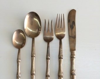 Wonderful Hollywod Regency Bronze Faux Bamboo Flatware