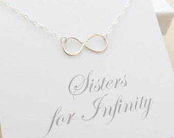 Sisters Necklace - Infinity Necklace - sister jewelry - sister gift - sterling silver infinity necklace - delicate jewelry - message card
