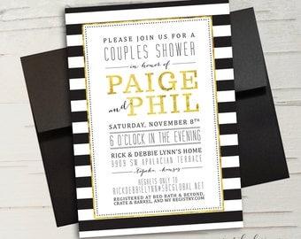 Black, White & Gold Stripe Couples Shower Invitation, Birthday Party, Bachelorette Party || Printable Invitation
