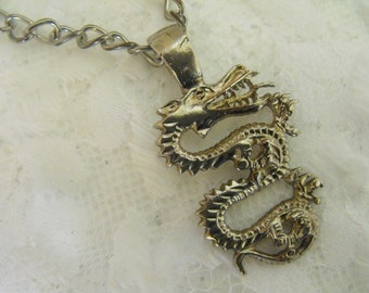 Silver Serpent Pendant & Chain - Rare - RUNWAY - STATEMENT - Large Heavyweighted