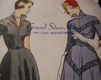 Vintage 1950's Simplicity 3058 Dress Sewing Pattern, Size 16, Bust 34