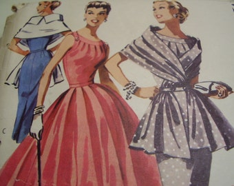 Vintage 1950's McCall's 3564 Dress and Stole Sewing Pattern, Size 18, Bust 36