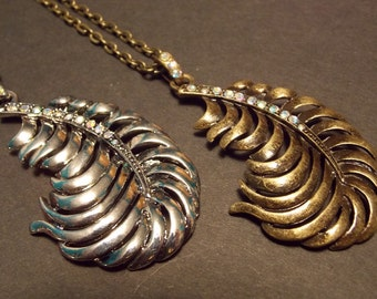 CLEARANCE!!! Feather Statement Necklace - Silver or Bronze