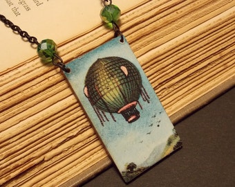 Green and Black Hot Air Balloon Tile Necklace