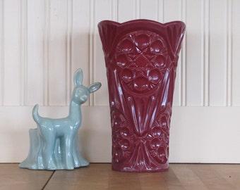 1950's Plastic Vase, Vase, Plastic, Maroon, Mid Century, Molded, Wedding, Flower, CFN Corp,  Collectible