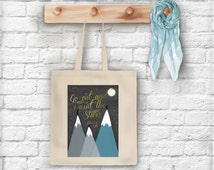 Go out and paint the Stars- Van Gogh quote tote bag