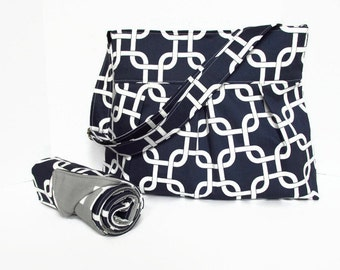 Monogrammed Navy Blue Gridlock Diaper Bag with Gray Ele Lining with Matching Changing Pad for Boy