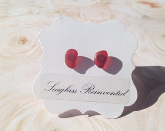Ruby Red Sea Glass Earrings - Sterling Silver Posts - Genuine Sea Glass Stud Jewelry