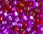 100pcs-4mm hot pink, fuchsia, bright red mix color Czech glass seed beads, neon beads