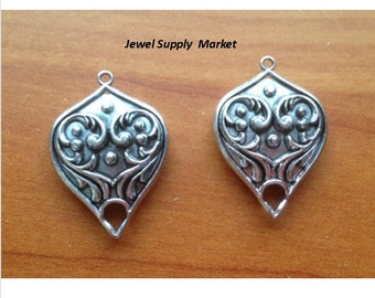 2pcs-32mm connector, one hole double sided earrings findings, silver plated, necklace, pendant, focal necklace