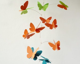 3D Butterfly Mobile, Kinetic mobile, Hanging mobile, Nursery decor, Bright green, orange, azure blue butterflies mobile