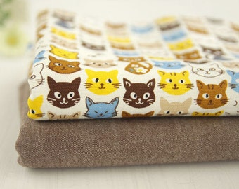 Cats Oxford Cotton Fabric or Solid Brown - By the Yard 69413