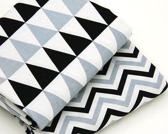 Geometric Cotton Fabric - Black and Gray - Triangles or Chevron - By the Yard 76503