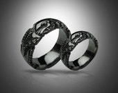 BLACK GIGER - Biomechanical Wedding Bands, gothic silver ring, Anatomical ring / Steampunk / Biomechanics / Giger / Men ring/ Men gift