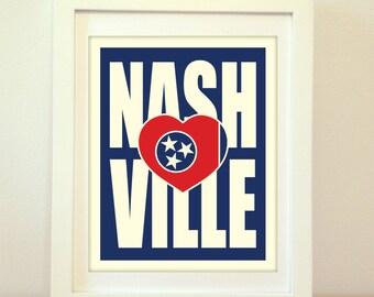 Nashville, Tennessee, Nashville Heart, Nashville Typography, Nashville Print, Nashville Art, Nashville Sign, Nashville Poster, Typography