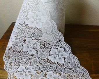 Vintage Bolt Of Wide White Rose Starched Lace