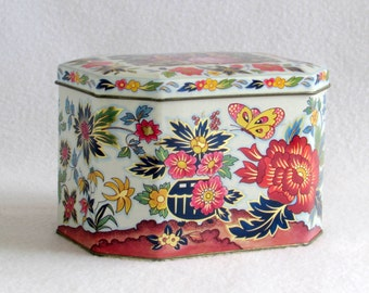 Damer Designed Vintage Tin - Octagonal Shaped - Made in England - Floral and Butterfly with Golden Accents - Vintage Home Decor