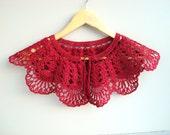 Crochet detachable lace COLLAR,  cherry red bolero, Neck jewelry accessories