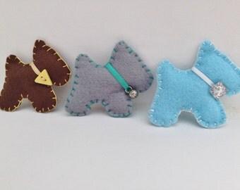 Scottie or Westie dog brooch, blue, brown or grey felt, jewellery accessory