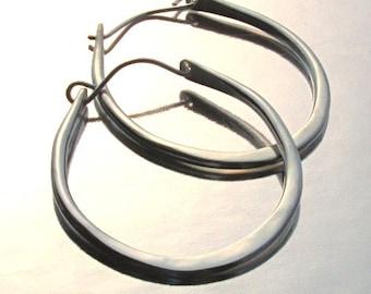 Thick Hoop Earrings, Silver Teardrops, Large, Hammered Hoops, Sterling Forged Earrings